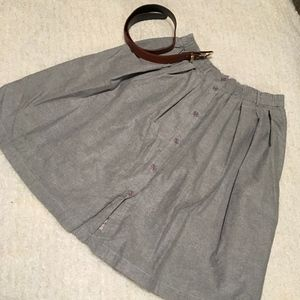 Gray Mid-Length Button Front Skirt with Brown Belt